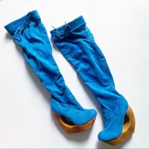 Jeffrey Campbell• rockless blue suede knee high
